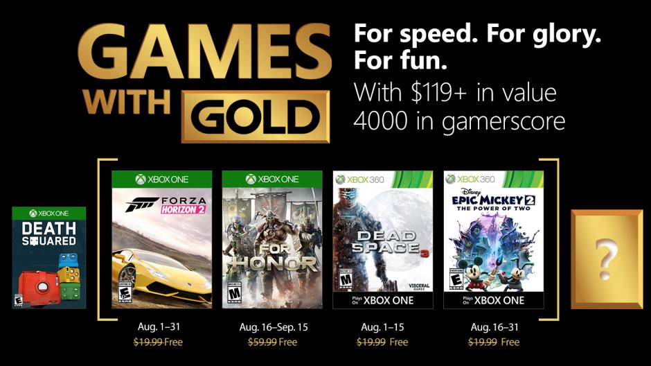 Forza Horizon 2 y For Honor entre los juegos de Gold de agosto