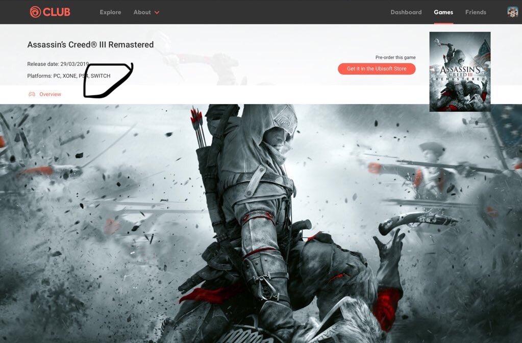 Según Ubisoft, Assassin's Creed III Remastered también llegará a Nintendo Switch