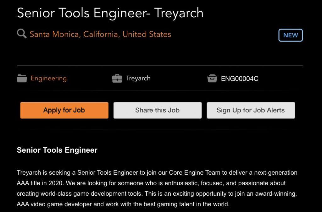 Una nueva pista: Call of Duty 2020 podría ser desarrollado por Treyarch