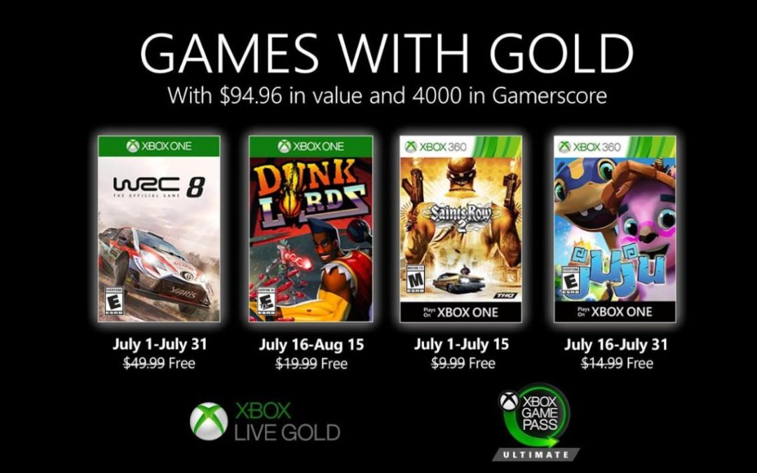 Juegos anunciados para Games with Gold y Game Pass para julio