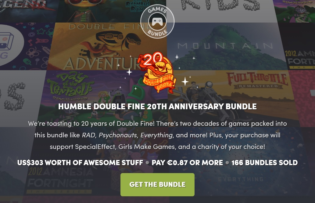 Double Fine cumple 20 años y lo celebra junto a Humble Bundle