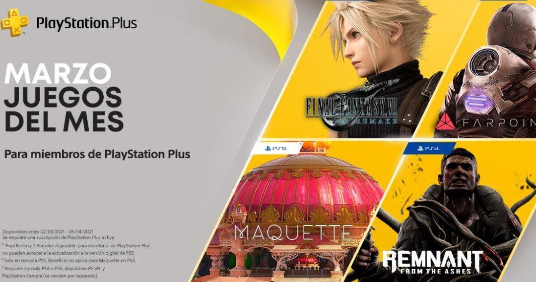 Final Fantasy VII Remake entre los juegos de PS Plus de marzo y títulos para Gold